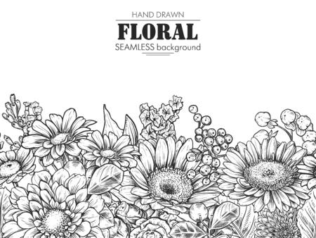 Illustration pour Floral composition. Bouquet with hand drawn flowers and plants. Monochrome vector illustration in sketch style. Chamomile, chrysanthemum, gerbera - image libre de droit