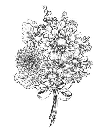 Illustration pour Floral composition. Bouquet with hand drawn flowers and plants. - image libre de droit