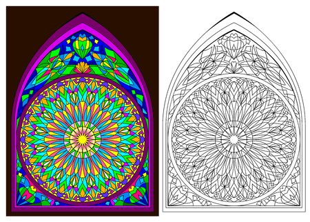 Ilustración de Colorful and black and white pattern of Gothic stained glass with rose, cartoon image. - Imagen libre de derechos