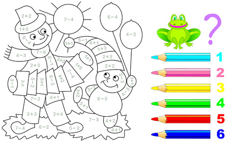 Illustration pour Mathematical worksheet for young children on addition and subtraction. Need to solve examples and paint the picture in relevant colors. Developing skills for counting. Vector image. - image libre de droit