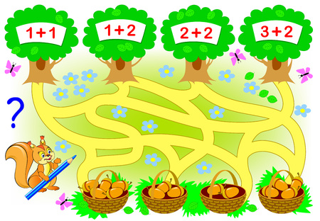 Educational page with mathematical exercises for little children. Where the squirrel need to carry each basket Count the acorns, solve examples and draw the way.