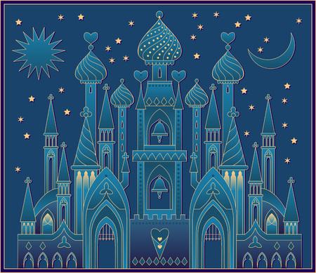 Illustration pour Illustration of a fantasy oriental castle eastern fairy tale. Vector cartoon image. - image libre de droit