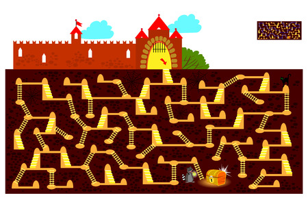 Illustration pour Logic puzzle game with labyrinth for children and adults. Find the way underground to the hidden treasure chest and draw the line. Vector cartoon image. - image libre de droit