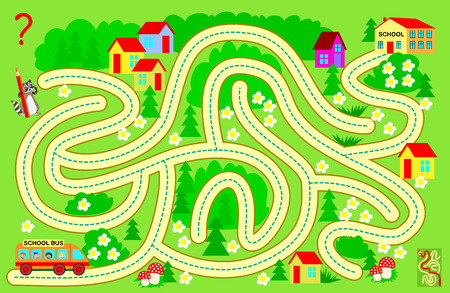 Ilustración de Logic puzzle game with labyrinth for children and adults. Help the school bus bring the children to school. Find the way and draw the line. Vector cartoon image. - Imagen libre de derechos
