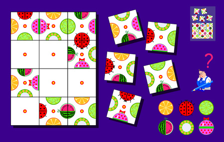 Logic puzzle game for children and adults. Need to find places for remaining squares and draw objects correctly. Page for brainteaser book. Developing spatial thinking. Back to school. Vector  cartoon image.