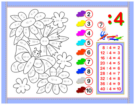 Illustration pour Exercises for kids with division by number 4. Paint the picture. Educational page for mathematics baby book. Printable worksheet for children textbook. Back to school. Vector cartoon image. - image libre de droit