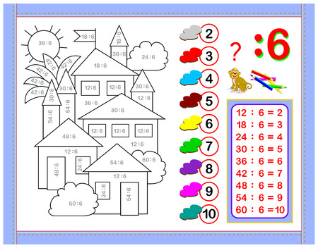 Illustration pour Exercises for kids with division by number 6. Paint the picture. Educational page for mathematics baby book. Printable worksheet for children textbook. Back to school. Vector cartoon image. - image libre de droit