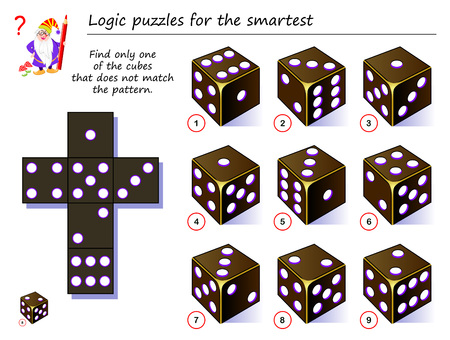 Ilustración de Logic puzzle game for smartest. Need to find only one of the cubes that does not match the pattern. Printable page for brainteaser book. Developing spatial thinking. Vector cartoon image. - Imagen libre de derechos