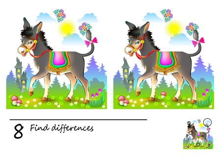 Illustration pour Logic puzzle game for children. Need to find 8 differences. Printable page for kids brainteaser book. Illustration of cute donkey in the meadow. Developing skills for counting. Vector cartoon image. - image libre de droit