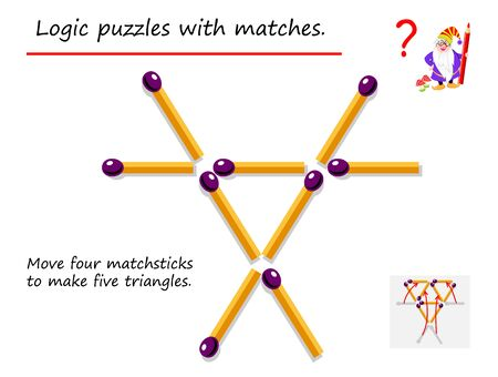 Illustration pour Logical puzzle game with matches. Need to move four matchsticks to make five triangles. Printable page for brainteaser book. Developing spatial thinking. Vector image. - image libre de droit