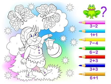 Illustration pour Educational page with exercises for children on addition and subtraction. Solve examples and paint the gnome in relevant colors. Developing skills for counting. Printable worksheet for kids textbook. - image libre de droit