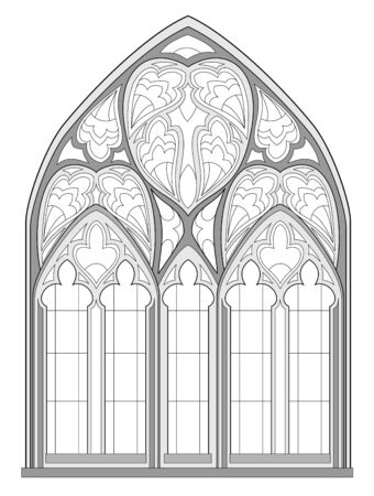 Black and white fantasy drawing for coloring book. Beautiful Gothic stained glass window in French churches. Medieval architecture in western Europe. Worksheet for children and adults. Vector image.