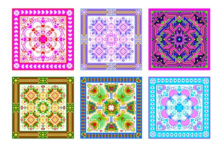 Illustration pour Set of 6 different square ornaments done in kaleidoscopic style. Beautiful background for pillow, table napkin, coverlet. Modern print with popular folk decoration. Vector flat geometrical image. - image libre de droit
