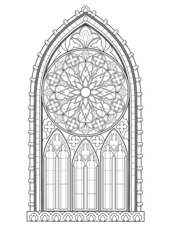 Illustration pour Beautiful Gothic stained glass window with rose. Medieval architecture in western Europe. Black and white fantasy drawing for coloring book. Worksheet for children and adults. Vector image. - image libre de droit