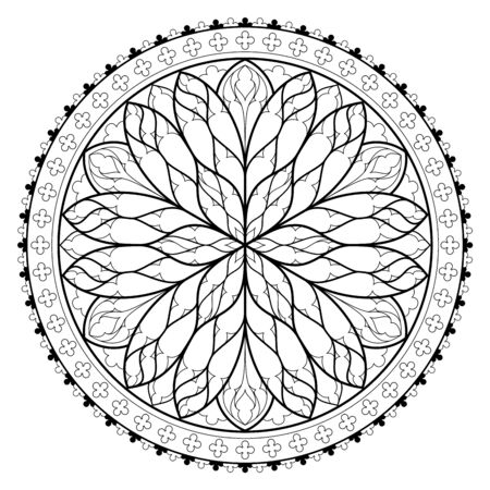 Illustration pour Black and white page for coloring book. Fantasy drawing of beautiful Gothic rose window with stained glass. Medieval architecture in western Europe. Worksheet for children and adults. Vector image. - image libre de droit