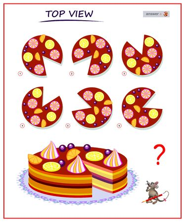 Illustration pour Logic puzzle game for children and adults. Need to find correct top view of cake. Printable page for brain teaser book. Developing spatial thinking skills. IQ training test. Vector cartoon image. - image libre de droit