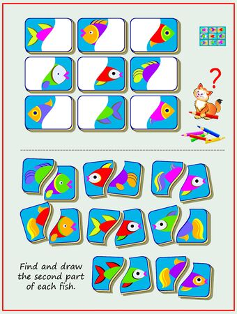 Illustration pour Educational page for kids textbook. Find and draw the second part of each fish. Worksheet for baby book. Developing children skills for drawing and coloring. Flat vector illustration. Online playing. - image libre de droit