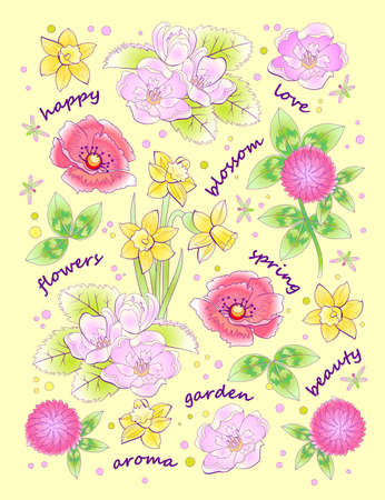 Illustration pour Fantasy background for modern print with beautiful spring flowers and lettering. Illustration with scattered plants for clothes and fabric. Vector cartoon image. - image libre de droit