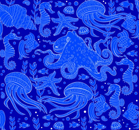 Illustration for Seamless pattern ornament with beautiful underwater life and maritime decoration. Sea background. Modern popular print ornate for wall-paper and textile. Vector cartoon image. - Royalty Free Image