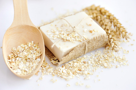 Photo pour Oatmeal Soap handmade for a natural clean - image libre de droit