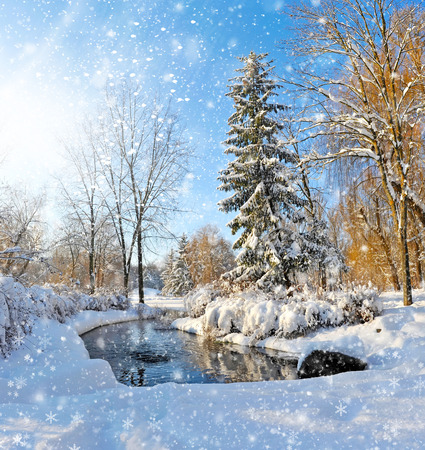 Photo for Winter landscape with the river in frosty day - Royalty Free Image
