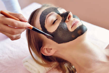 Photo pour The procedure for applying a mask from clay to the face of a beautiful woman. Spa treatments and care of the face in the beauty salon. - image libre de droit