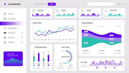 Illustration pour Chart infographic. Finance dashboard interactive mockup, HUD tech website template, admin data app. Vector application screen - image libre de droit