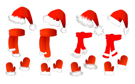 Cristmas set: red santa claus hat, scarf and mittens on the white background. Vector illustration