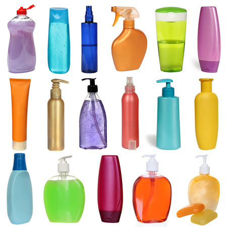 17 colored plastic bottles with liquid soap and shower gel isolated on white . Studio shooting. Set.