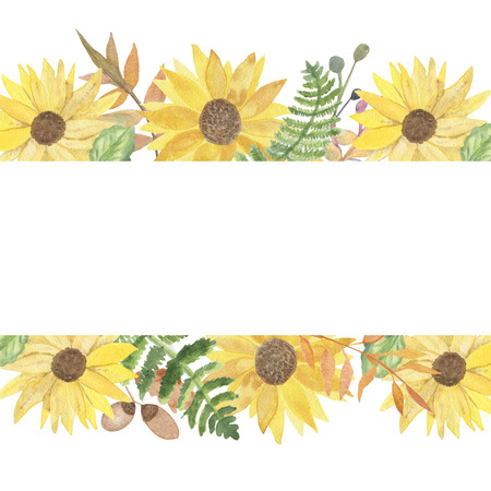 watercolor autumn bright pattern of colorful sunflowers, green leaves, yellow flowers, ferns and acornsの素材 [FY310125845424]
