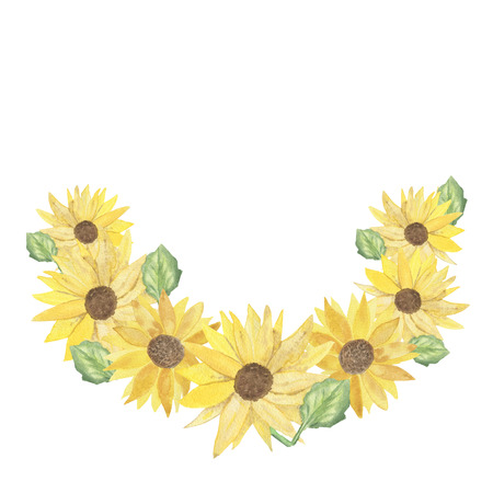 watercolor wreath of bright yellow sunflowers, autumn colorful postcard-illustrationの素材 [FY310125845426]