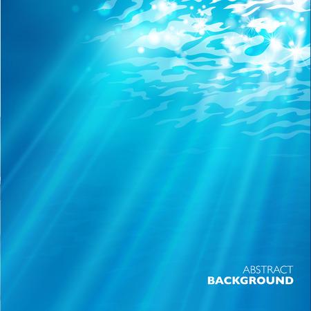 Vector under water background. Design template. Blue deep sea.