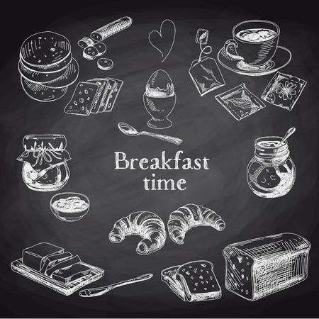 Vector breakfast hand drawn set. Vintage illustration. Chalkboard.