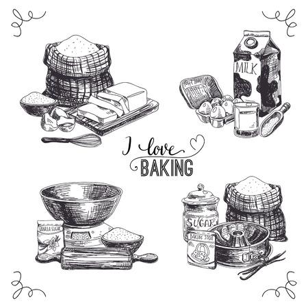 Vector hand drawn set bakery goods. Vintage Illustration with milk, sugar, flour, vanilla, eggs, mixer, baking powder, rolling, whisk, spoon vanilla bean, butter and kitchen dish.