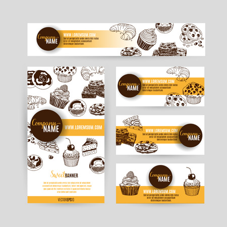 Corporate identity business set design with sweets and cakes. Abstract background. Vector illustration.Hand drawn illustration. Sketch.
