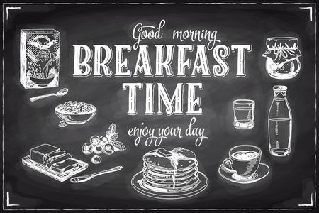 Vector hand drawn breakfast and branch background on chalkboard. Menu illustration.