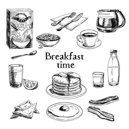 Illustration pour Vector breakfast hand drawn set. Vintage illustration. Sketch. - image libre de droit