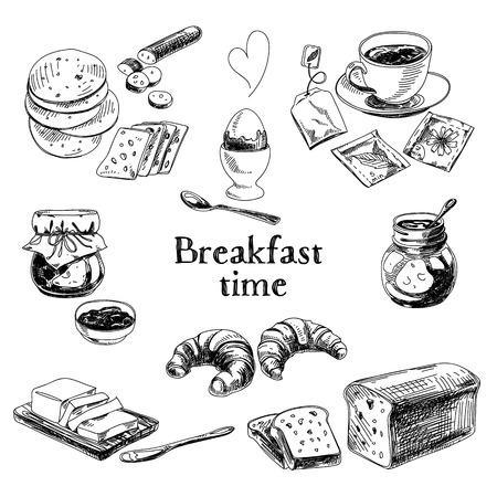 Vector breakfast hand drawn set. Vintage illustration. Sketch.