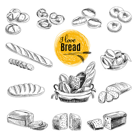 Illustration pour Vector set of Bread, bakery products. Vector illustration in sketch style. Hand drawn design elements. - image libre de droit