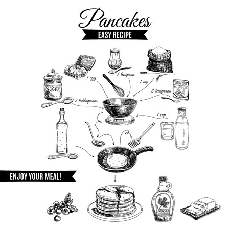 Illustrazione per Vector hand drawn pancakes illustration. Vintage set with milk, sugar, flour, vanilla, eggs, mixer, and kitchen dish. Simple recipe. - Immagini Royalty Free