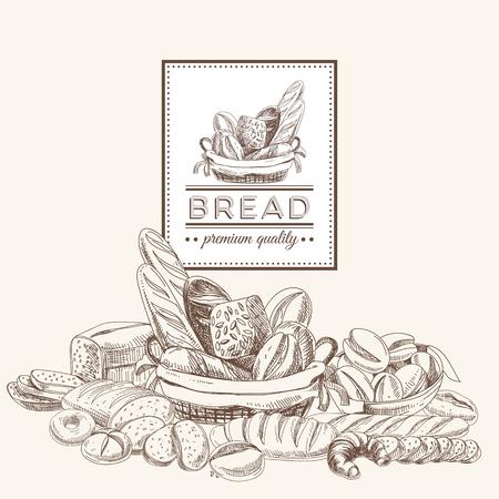 Vektor für Vector bakery retro background. Vintage Illustration with bread. Sketch. - Lizenzfreies Bild