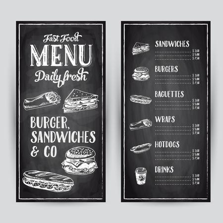 Vector hand drawn illustration with fast food. Restaurant menu. Chalkboard. Sketch.