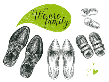 Illustration for Vector hand drawn illustration with family shoes. Sketch. - Royalty Free Image