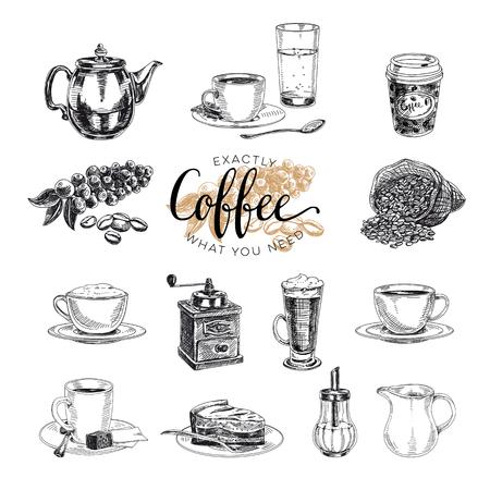 Illustration pour Vector hand drawn coffee set. Sketch illustration - image libre de droit