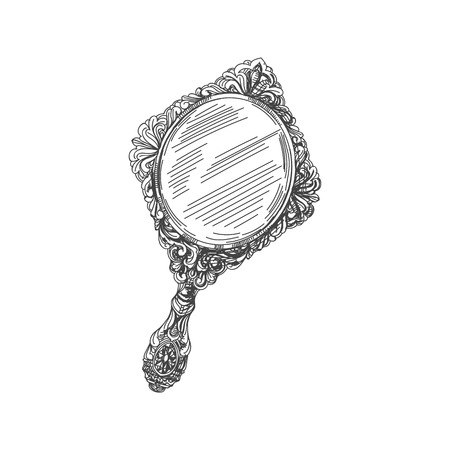 Illustration for Beautiful vector hand drawn vintage hand mirror Illustration. Detailed retro style image. Sketch element for labels and cards design. - Royalty Free Image