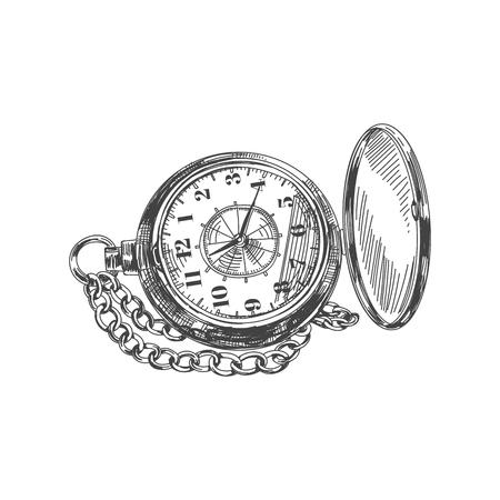 Illustration pour Beautiful vector hand drawn vintage pocket watch Illustration. Detailed retro style image. Sketch element for labels and cards design. - image libre de droit
