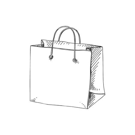 Ilustración de Beautiful vector hand drawn shopping bag Illustration. Detailed retro style image. Vintage sketch element for labels, packaging and cards design. Modern background. - Imagen libre de derechos