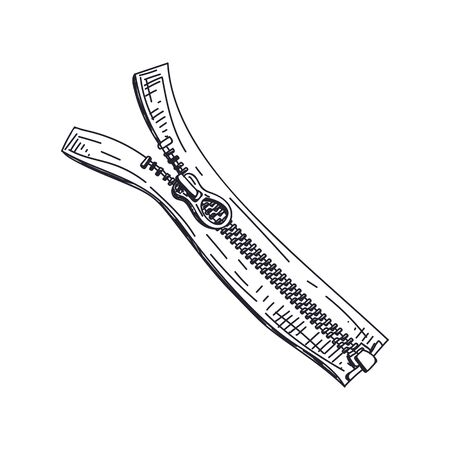 Illustration pour Zipper hand drawn black and white vector illustration - image libre de droit