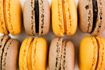 Photo for Macaroons on white background top, colorful macaroons, selective focus. - Royalty Free Image