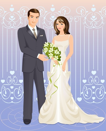 Illustration of bride and groom on colourful background